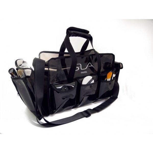 Profesionalus krepšys kosmetikai permatomas - juodas